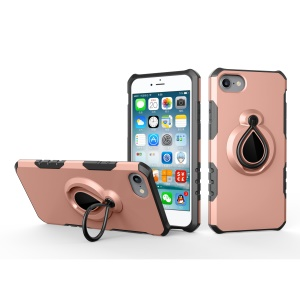 360 Degree Rotating Magnetic Finger Ring Kickstand TPU PC Hybrid Cell Phone Cover for iPhone 8/7 4.7 inch - Rose Gold