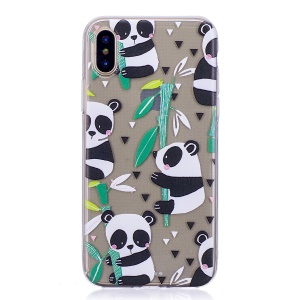 Pattern Printing TPU Protective Case for iPhone X - Panda Pattern
