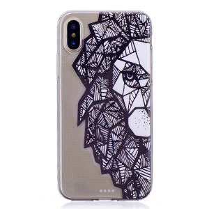 Pattern Printing TPU Gel Cover Case for iPhone X - Animal Pattern