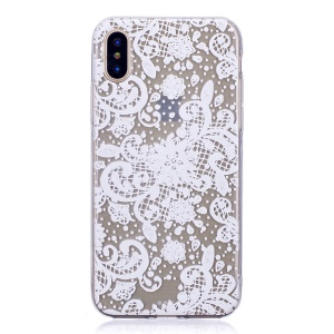 Pattern Printing TPU Case Accessory for iPhone X - Flowers Pattern