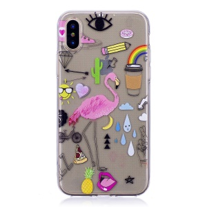 Pattern Printing TPU Soft Case for iPhone X - Crane Pattern
