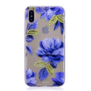 Pattern Printing TPU Phone Shell Case for iPhone XS/X 5.8 inch - Blue Flowers