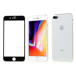 NXE Transparent TPU Mobile Cover + Black Tempered Glass Screen Film for iPhone 8 Plus / 7 Plus
