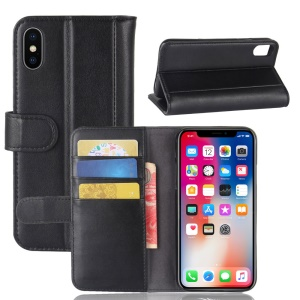 Genuine Leather Wallet Stand Case for iPhone X - Black