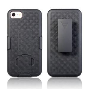 Woven Texture PC + TPU Swivel Belt Clip Holster Case for iPhone 8 / 7 4.7 inch - Black