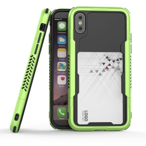 PC + TPU Bumper Case Cover with Card Slot for iPhone X/10 5.8 inch - Green