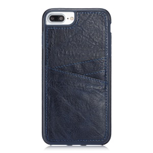 Simple Series Split Leather Coated TPU Shell with Card Slots for iPhone 8 Plus / 7 Plus - Dark Blue