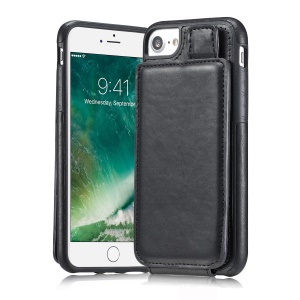 Multi-slot Wallet Split Leather Coated TPU Back Mobile Case for iPhone 6s/6 - Black