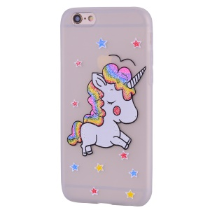 For iPhone 6 / 6s 4.7 inch Unicorn Pattern Ultra-thin TPU Flexible Phone Back Case - White