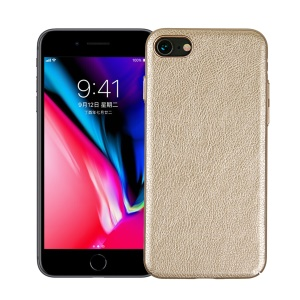 Vintage PU leather Coated Hard PC Mobile Casing for iPhone 8 / 7 4.7 inch - Gold