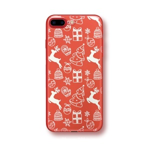 Embossment Christmas Series TPU Back Case for iPhone 8 Plus / 7 Plus - Reindeer and Christmas Tree