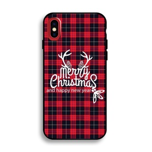 Christmas Series IMD Patterned TPU Soft Case for iPhone X/10 5.8 inch - Antlers and Merry Christmas
