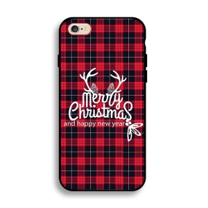 Christmas Series Soft IMD TPU Back Case for iPhone 8 Plus/7 Plus - Antlers and Merry Christmas