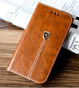Peace Dove Series PU Leather Flip Stand Mobile Shell with Card Slots for iPhone SE/5S/5 - Light Brown