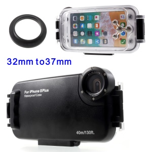 MEIKON 40m/130ft IPX8 Waterproof Underwater Diving Case for iPhone 8 Plus 5.5 inch - Black
