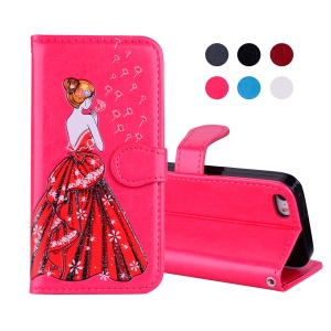 Flash Powder Pretty Girl's Back Card Holder Leather Mobile Case for iPhone SE/5s/5 - Rose