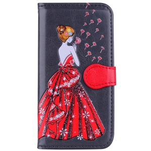 Flash Powder Pretty Girl's Back Leather Wallet Protective Case for iPhone 6s / 6 - Grey