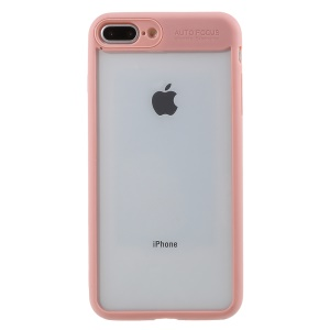 Transparent Acrylic Back + TPU Frame Hybrid Mobile Phone Shell for iPhone 8 Plus/7 Plus - Pink