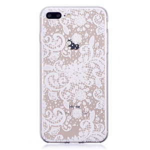 Printing Pattern Soft TPU Back Cover for iPhone 8 Plus/7 Plus - White Flower Pattern