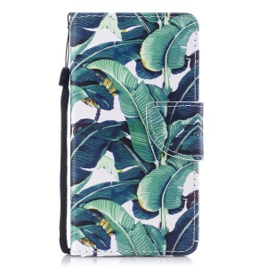 Pattern Printing Leather Stand Case with Card Slots for iPhone Xs/X 5.8 inch - Leaf Pattern