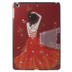 Elegant Girl's Back Pattern Printing Plastic Hard Case with Desktop Stand for iPad 9.7 (2018) / 9.7 (2017) - Pearl Dress / Red