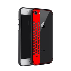 NXE Honeycomb Pattern Painting PC + TPU Combo Back Case for iPhone 8/7 4.7 inch - Red