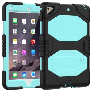 PC + Silicone Armor Defender Kickstand Cover Shell for iPad Air 2 - Cyan