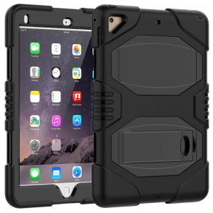 Kickstand PC Silicone Armor Defender Tablet Case for iPad Pro 9.7 inch (2016) - Black