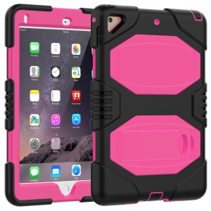PC Silicone Armor Defender Tablet Cover with Kickstand for iPad Pro 9.7 inch (2016) - Rose