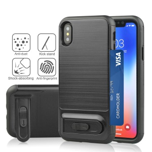 ANGIBABE Brushed PC + TPU Hybrid Kickstand Case with Card Slot for iPhone X/10 - Black