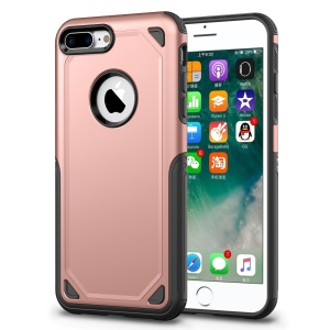 For iPhone 8 Plus / 7 Plus Rugged Armor Plastic + TPU Hybrid Protective Cover - Rose Gold
