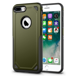 Plastic + TPU Hybrid Rugged Armor Cover Case for iPhone 8 Plus / 7 Plus - Army Green