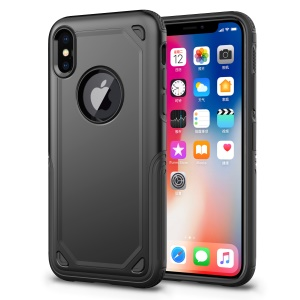 Plastic + TPU Hybrid Rugged Armor Protective Case for iPhone X (Ten) - Black