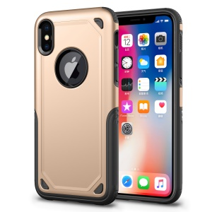 Plastic + TPU Hybrid Rugged Armor Phone Casing for iPhone X (Ten) - Gold