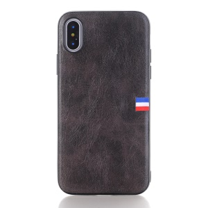 Vintage Crazy Horse PU Leather Coated TPU Mobile Back Case for iPhone X/10 - Black