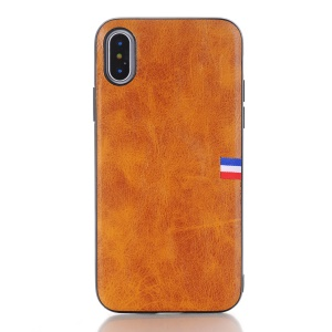 Vintage Crazy Horse PU Leather Coated TPU Protective Cover Case for iPhone XS / X 5.8 inch - Brown