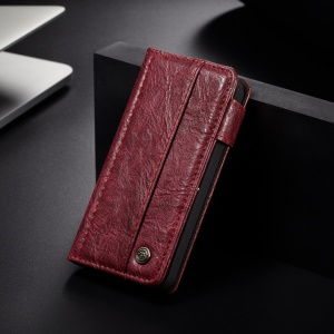 CASEME Vintage Style Wallet PU Leather Phone Cover for iPhone 5 / 5s / SE - Wine Red