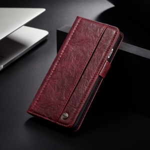 CASEME Vintage Style PU Leather Phone Cover with Card Slots for iPhone 8 / 7 4.7 inch - Red
