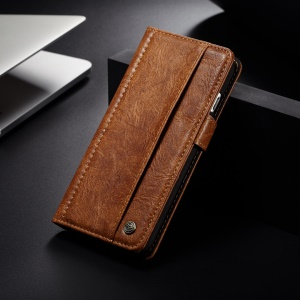 CASEME 010 Series Vintage Style PU Leather Wallet Mobile Phone Case Accessory for iPhone 8 / 7 4.7 inch - Brown