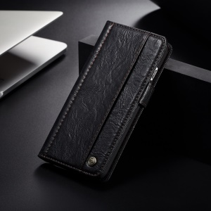 CASEME Vintage Style Wallet PU Leather Phone Case for iPhone 8 Plus / 7 Plus - Black