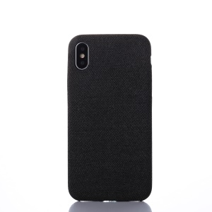 Cloth Coated Plastic Back Case Accessory for iPhone X/10 - Black