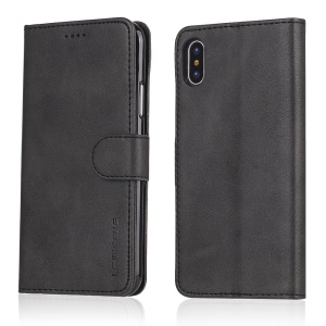 LC.IMEEKE Wallet Stand Leather Protective Case for iPhone X/10 - Black