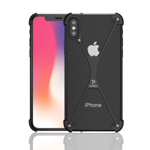 OATSBASF X Shaped Metal Bumper Case for iPhone X/10 - Black
