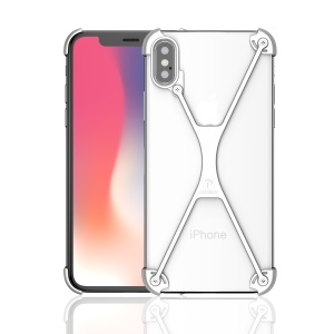 OATSBASF X Shaped Metal Bumper Cover for iPhone X/10 - Silver