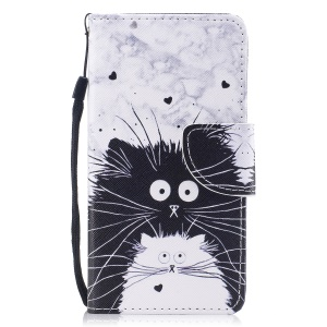 Printing Pattern Magnetic Stand Leather Wallet Cell Phone Case with Strap for iPhone 8 / 7 - Black Cat and White Cat
