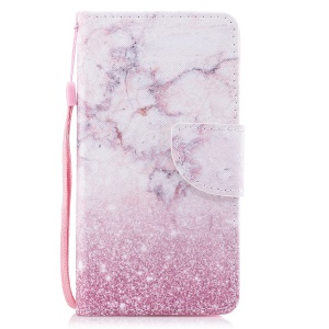Printing Pattern Magnetic Stand Leather Wallet Protective Case with Strap for iPhone 8 / 7 - Pink Marble