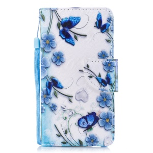 Printing Pattern Magnetic Stand Leather Wallet Protective Casing with Strap for iPhone 8 Plus / 7 Plus - Blue Butterfly and Flower
