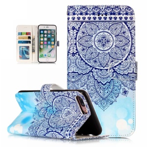 Patterned Embossment Leather Stand Case for iPhone 8 Plus / 7 Plus - Blue Retro Flowers