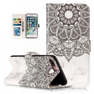 Patterned Embossment Leather Wallet Protective Cover for iPhone 8 Plus / 7 Plus - Henna Flower