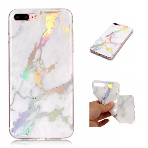 Padrão De Mármore Colorized Galvanoplastia TPU Back Shell Para Iphone 8 Plus / 7 Mais - Branco